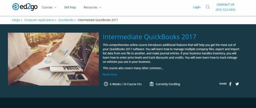 Ed2go Intermediate Quickbooks 2017