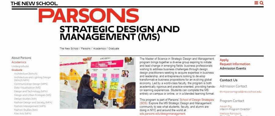 Parsons Strategic Design and Management Ms