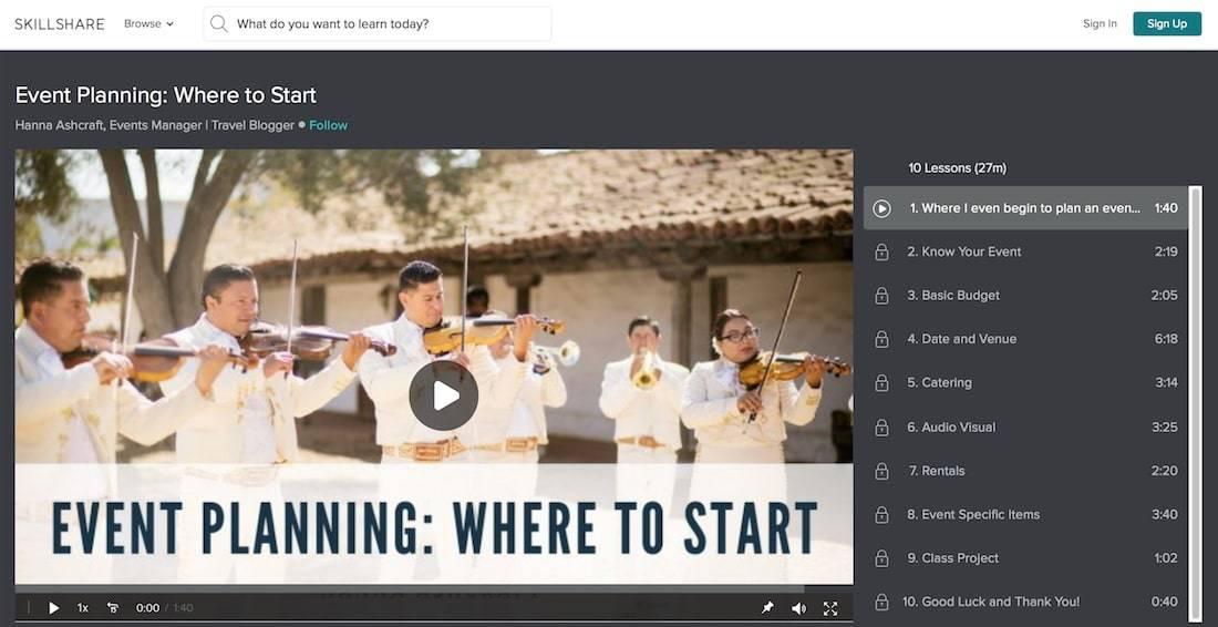 skill share class event planning