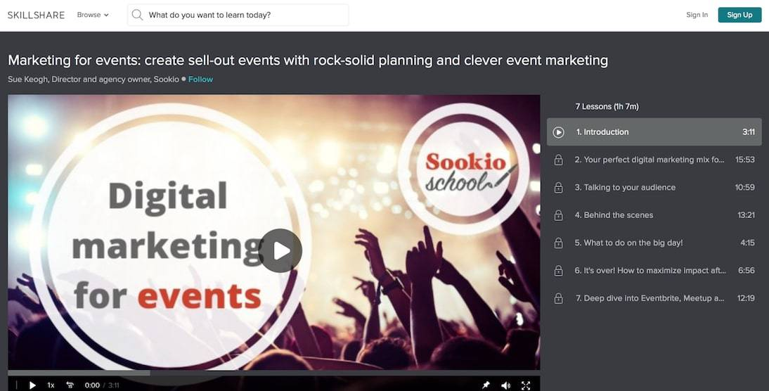 event planning marketing class