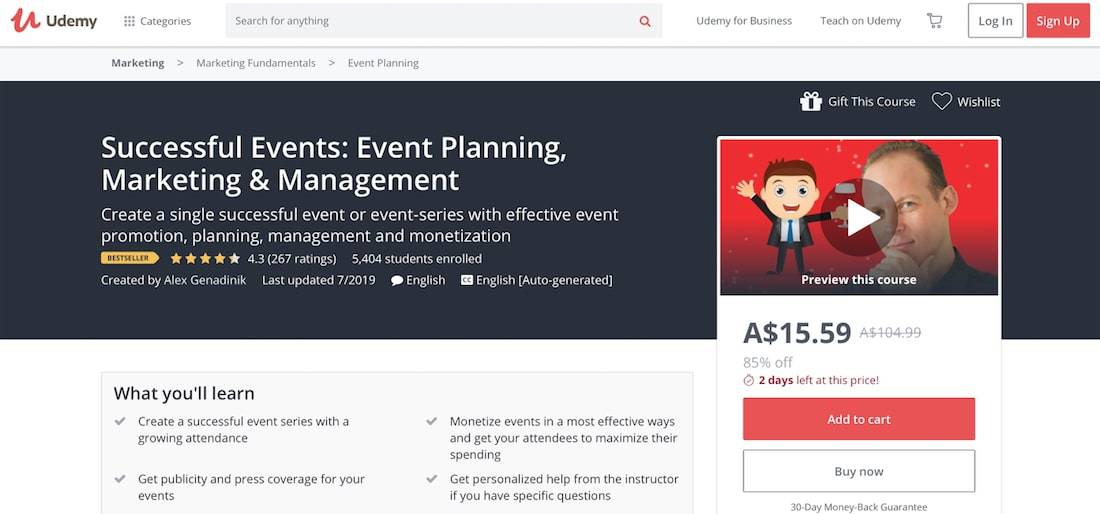 how to create and event training udemy