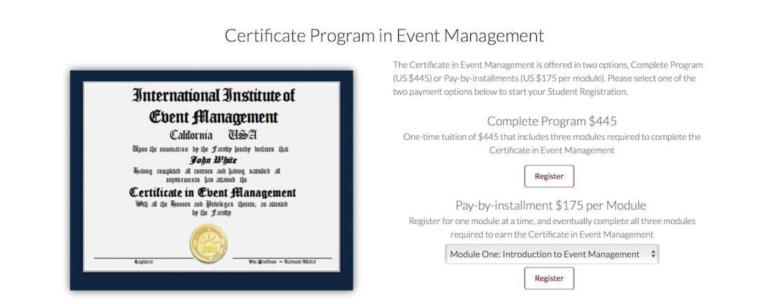 online Certificate Program in Event Management