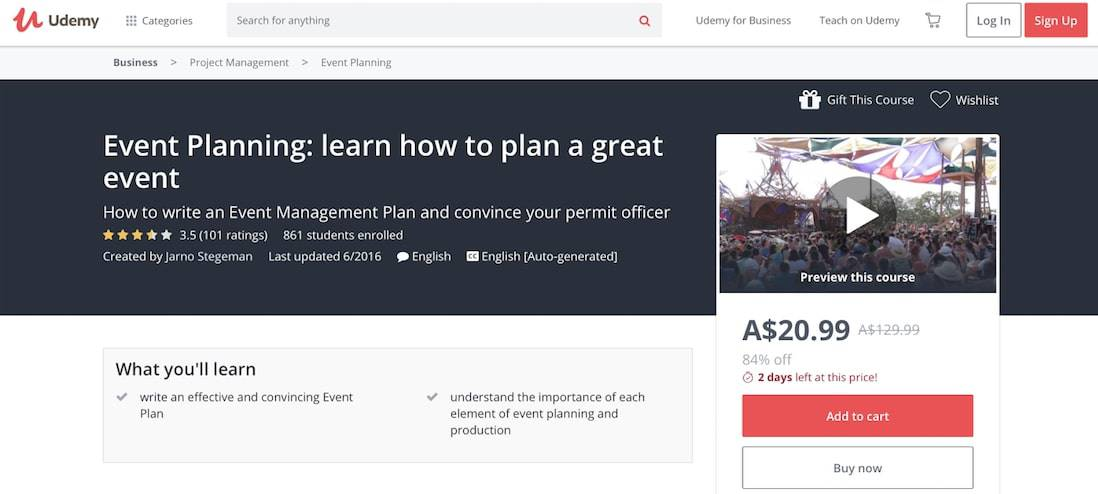 Learn How To Plan a Great Event (Udemy)