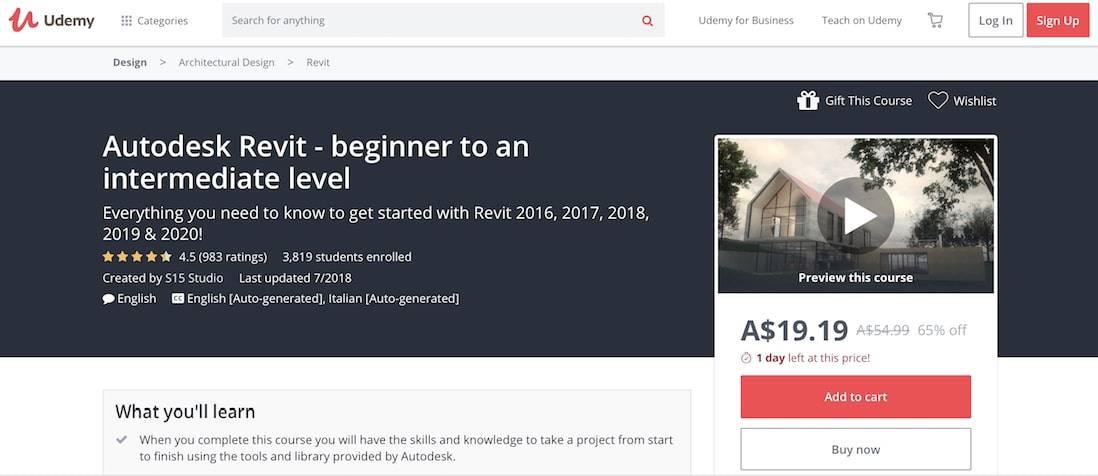 Autodesk Revit: Beginner To Intermediate Level (Udemy) best online refit courses