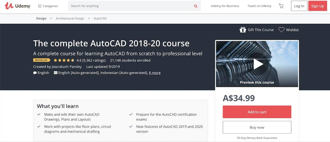 Screen Shot 2019 09 17 at 12.17.07 pm Top 10+ FREE Best Online AutoCAD Courses, Training & Classes