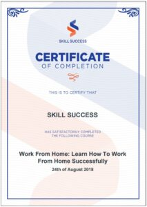 SkillSuccess Certificate of Completion