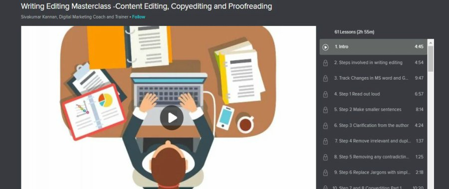 Skillshare Writing Editing Masterclass – content editing, copy editing and proofreading