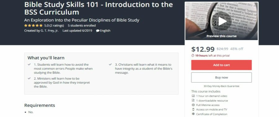 Udemy: Bible Study Skills 101 – Introduction to the BSS Curriculum