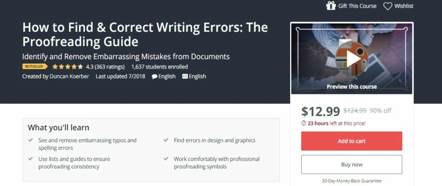 Udemy How to Find & Correct Writing Errors the Proofreading Guide