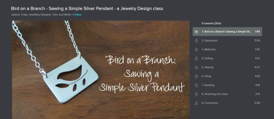 Bird on a Branch - Sawing a Simple Silver Pendant - a Jewelry Design class