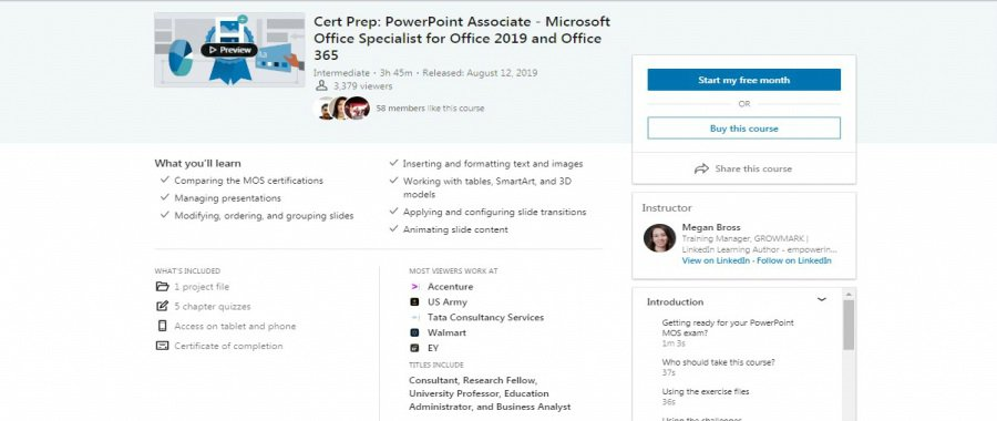 Cert Prep: PowerPoint Associate - Microsoft Office Specialist for Office 2019 and Office 365