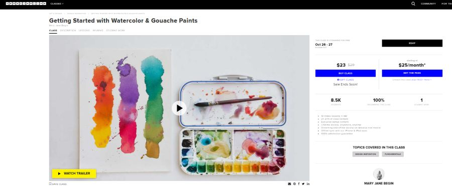 Creative Live: Getting Started with Watercolor & Gouache Paints