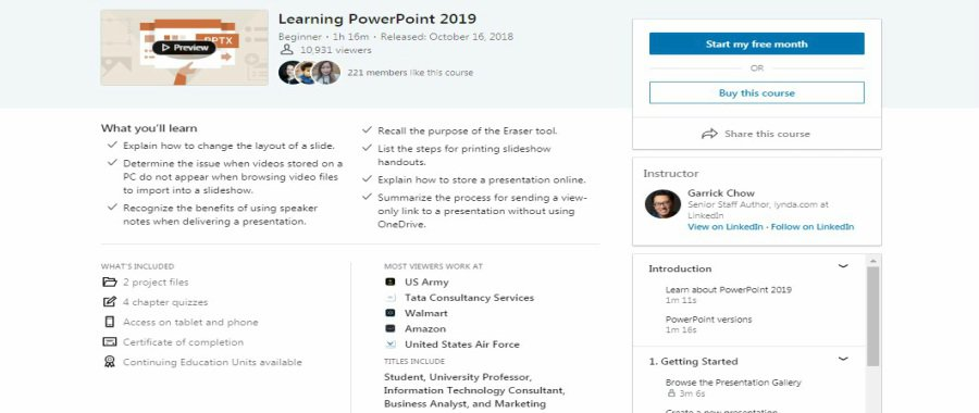Learning PowerPoint 2019