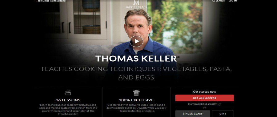 Masterclass: Thomas Keller Teaches Cooking Techniques I: Vegetables, Pasta, and Eggs