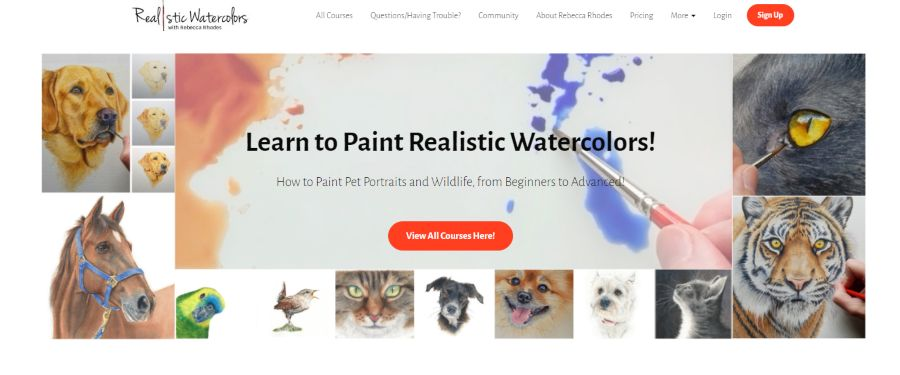 Rebecca Rhodes Art: Learn to Paint Realistic Watercolors: How to Paint Pet Portraits and Wildlife, From Beginner to Advanced