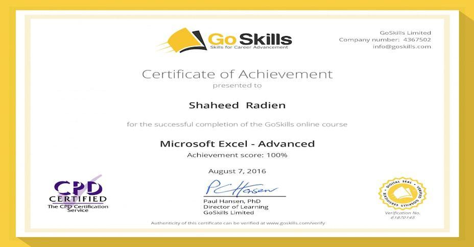 GoSkills certificate