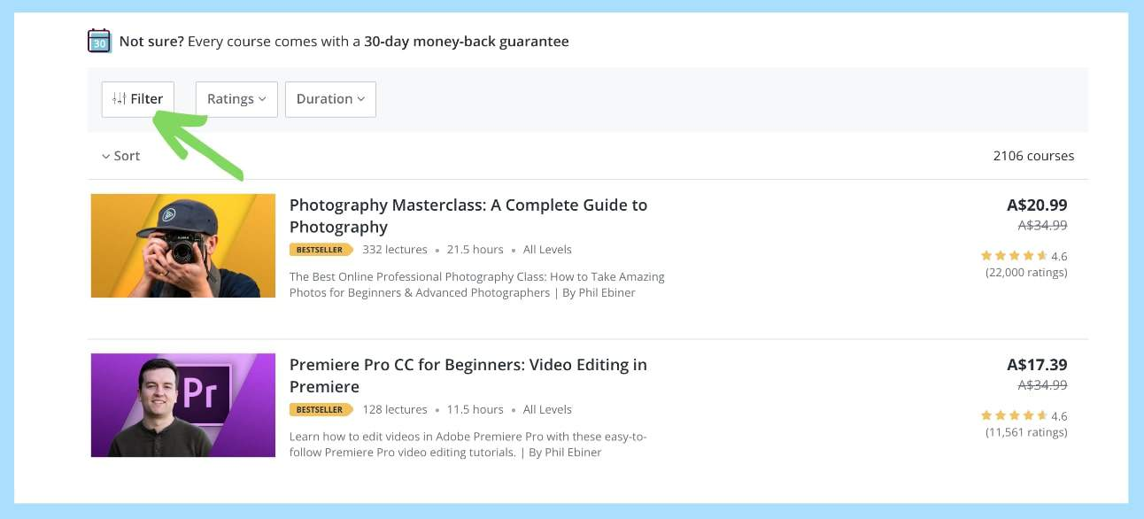 Apply filter for free courses on udemy