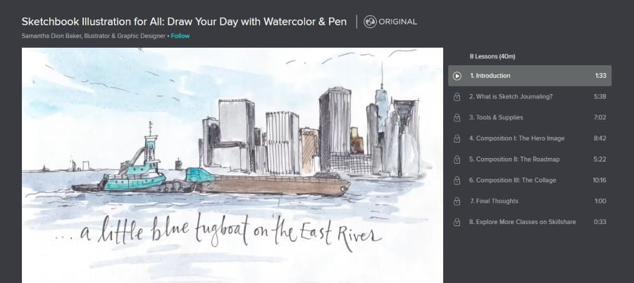 Skillshare: Sketchbook Illustration for All: Draw Your Day with Watercolor & Pen