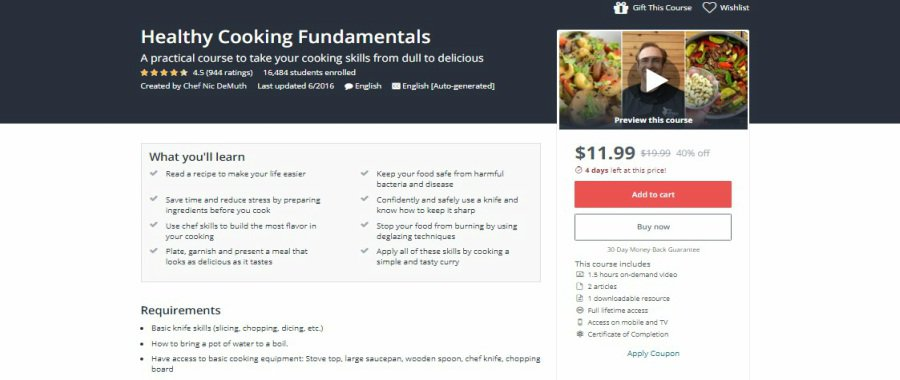 Udemy: Healthy Cooking Fundamentals