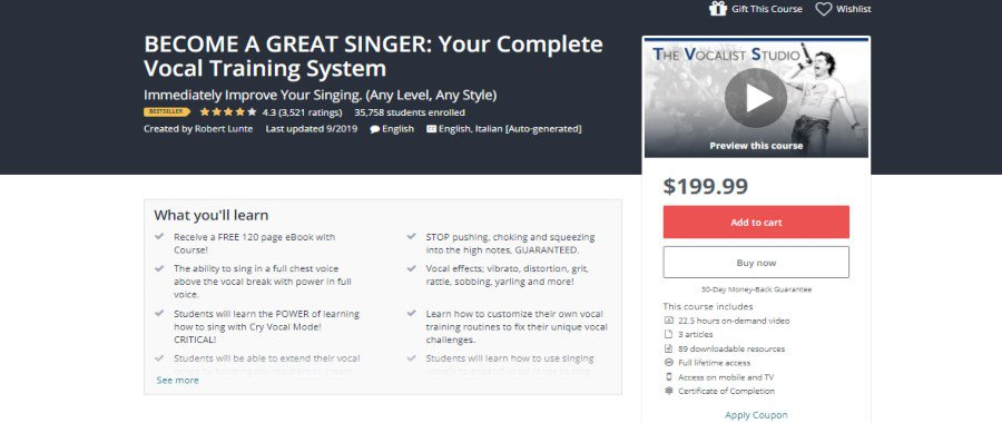 Udemy: Become a Great Singer: Your Complete Vocal Training System
