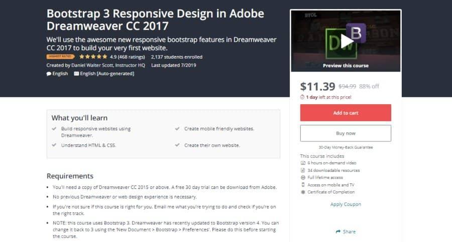 Udemy: Bootstrap 3 Responsive Design in Adobe Dreamweaver CC 2017