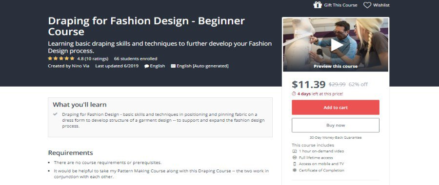Udemy: Draping for Fashion Design: Beginner Course