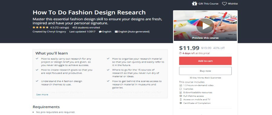 Udemy: How to Do Fashion Design Research