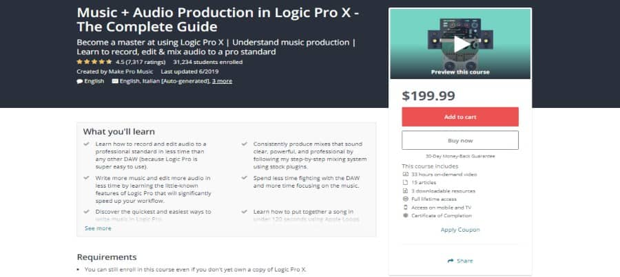 Udemy: Music + Audio Production in Logic Pro X – The Complete Guide