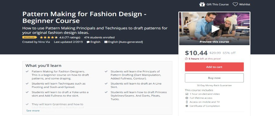 Udemy: Pattern Making for Fashion Design – Beginner Course