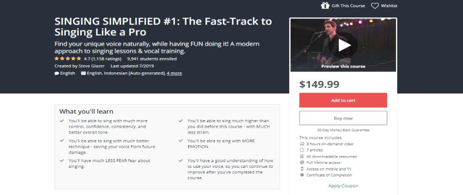 Udemy: Singing Simplified #1: The Fast-Track to Singing Like a Pro
