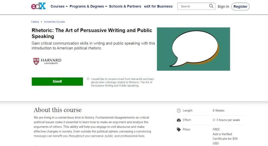 Harvard University (via edx.org): Rhetoric: The Art of Persuasive Writing and Public Speaking