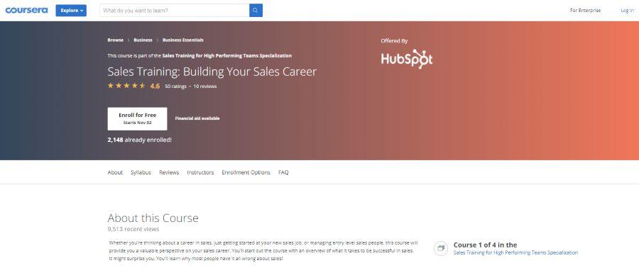 HubSpot Academy (via Coursera): Sales Training: Building Your Sales Career