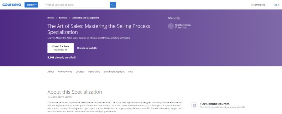 Northwestern University (via Coursera): The Art of Sales: Mastering the Selling Process Specialization