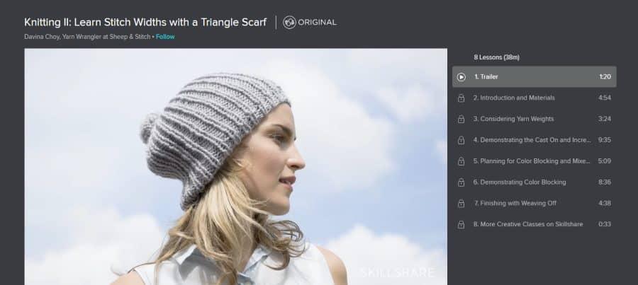 Skillshare: Knitting II: Learn Stitch Widths With a Triangle Scarf