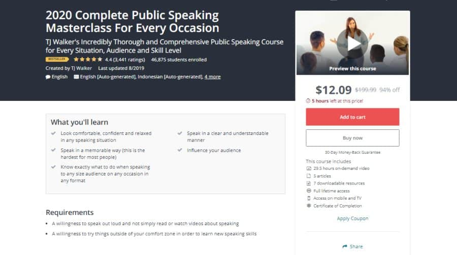 Udemy: 2020 Complete Public Speaking Masterclass For Every Occasion