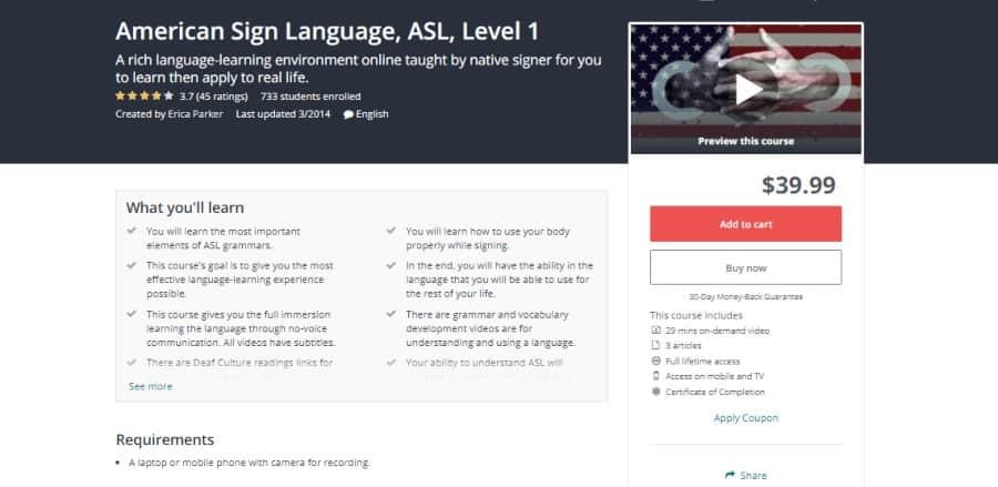 Udemy: American Sign Language, ASL, Level 1