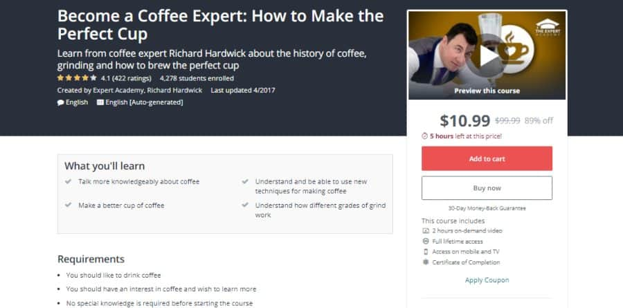 Udemy: Become a Coffee Expert: How to Make the Perfect Cup