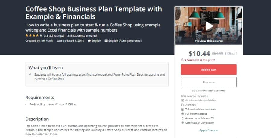 Udemy: Coffee Shop Business Plan Template with Example & Financials
