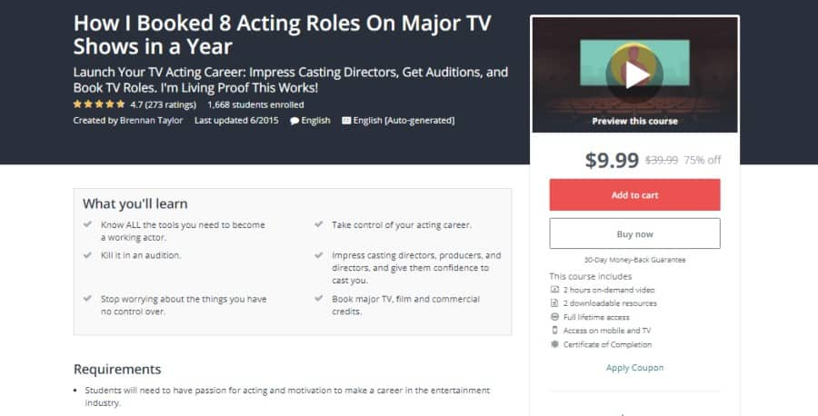 Udemy: How I booked 8 Acting Roles on Major TV Shows in a Year