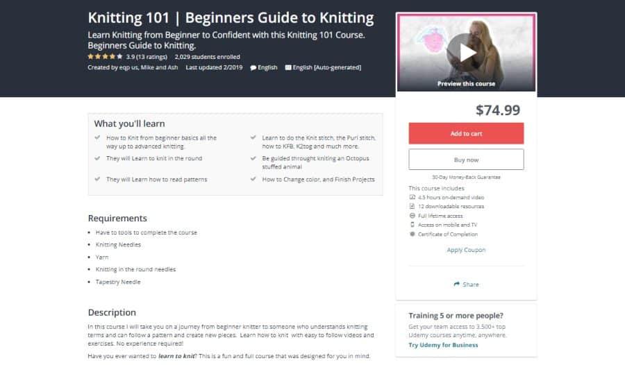 Udemy: Knitting 101 | Beginner's Guide to Knitting
