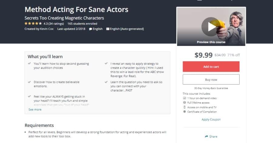 Udemy: Method Acting for Sane Actors