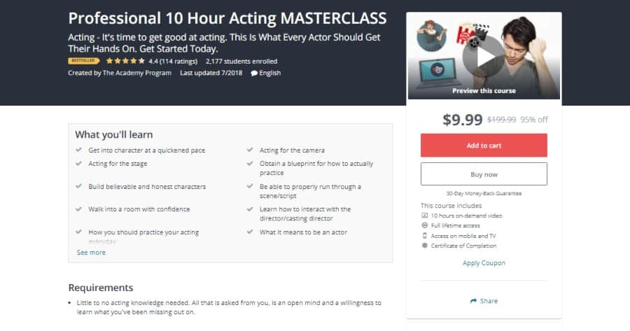 Udemy: Professional 10 Hour Acting MASTERCLASS