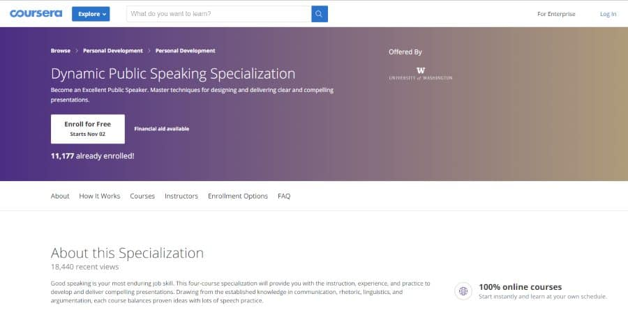 University of Washington (via Coursera): Dynamic Public Speaking Specialization