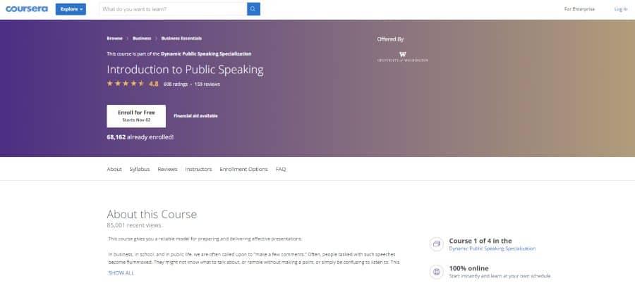 University of Washington (via Coursera): Introduction to Public Speaking