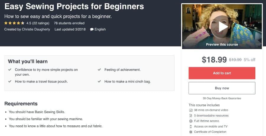 Course: Easy Sewing Projects for Beginners (Udemy)