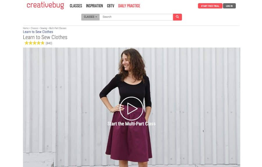 Course: Learn to Sew Clothes (Creative Bug)