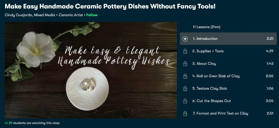 Course: Make Easy Handmade Ceramic Pottery Dishes Without Fancy Tools (Skillshare)