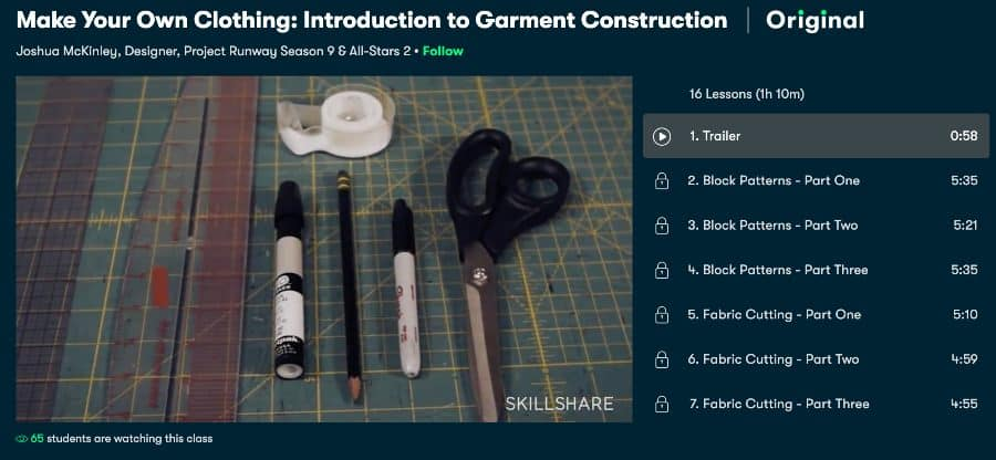 Course: Make Your Own Clothing: Introduction to Garment Construction (Skillshare)