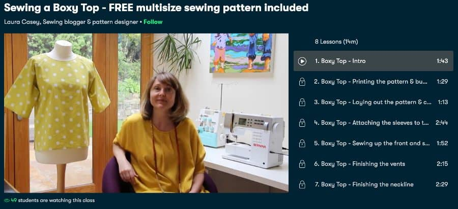 Multisize Sewing Pattern Included (Skillshare)