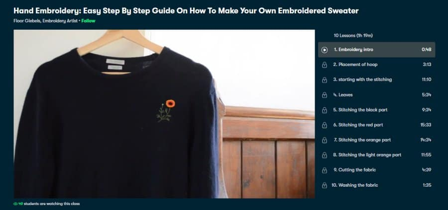 Course: Hand Embroidery: Easy Step by Step Guide on How to Make your Own Embroidered Sweater